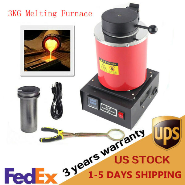 1400W 3KG Electric Melting Furnace Gold Silver Metal Smelter Jewelry Tool 110V $180.52