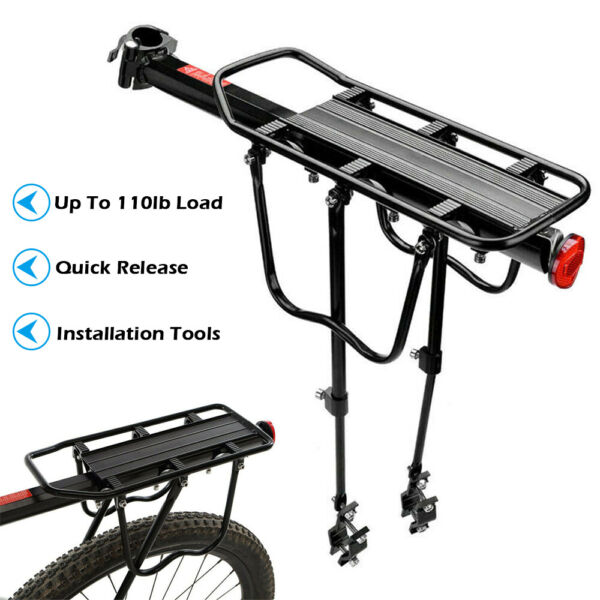 Rear Bike Bicycle Seat Rack Cargo Quick Release Alloy Carrier 110 Lb Capacity $19.79