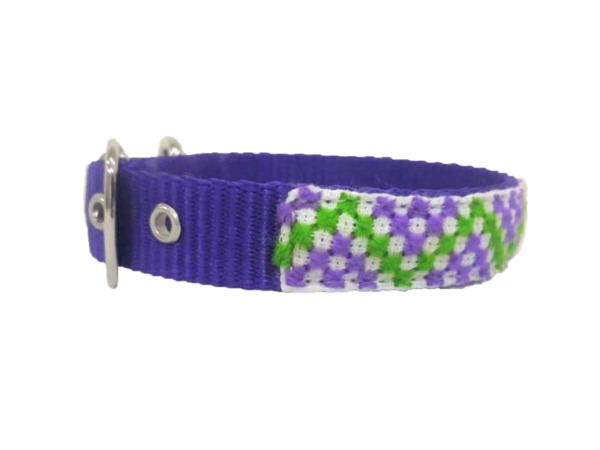 Dog Collar Small Size dog collar with cross stitch embroidery Mexican Handcrafts $30.00