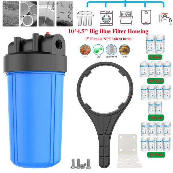 Whole House Big Blue Water Filter Housing 4.5x10quot; 1#x27;#x27;Inlet Outlet Wrench Bracket