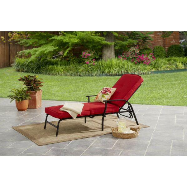 Garden Park Outdoor Chaise Lounge with Cushions Deck Seating Red Patio Furniture $202.99