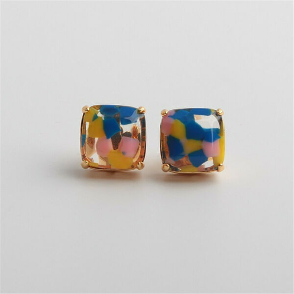 Kate Spade Resin Light luxury Small Square Marbled Silhouette Stud Earrings $19.99