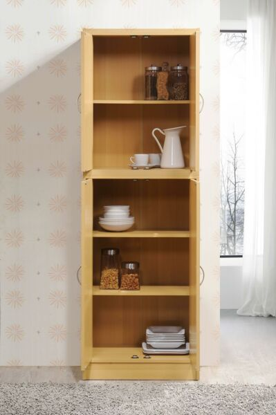 4 Door Kitchen Pantry Wood Cupboard Storage 4 Shelves Cabinet Organizer Beech