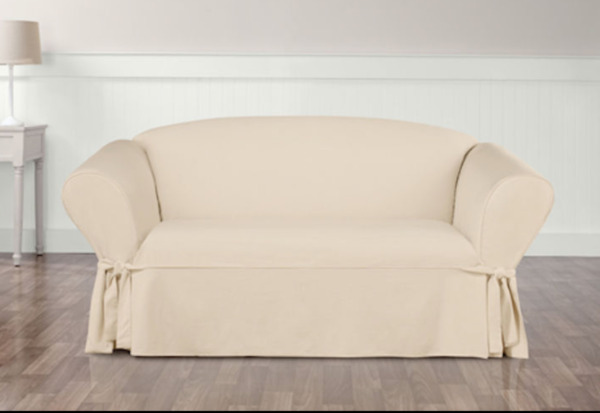 Sure Fit Cotton Duck Love Seat Box Cushion Style in Natural $27.99