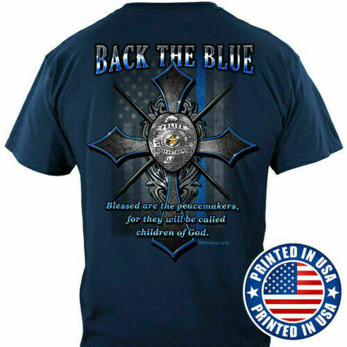Back The Blue Flag Police Men#x27;s T shirt Cotton S 3XL HOT Graphic Printed
