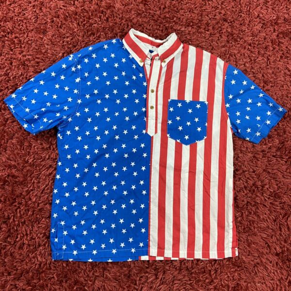 Chubbies The Nutter Button Up Collared American Flag Short Sleeve Shirt Large