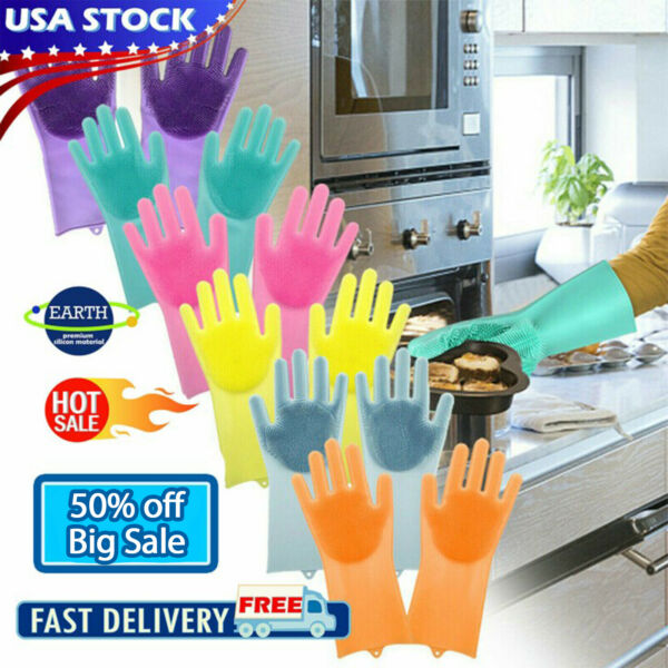 2 in 1 Magic Gloves Dish washing Silicone Rubber Scrubber Cleaning 6 Color
