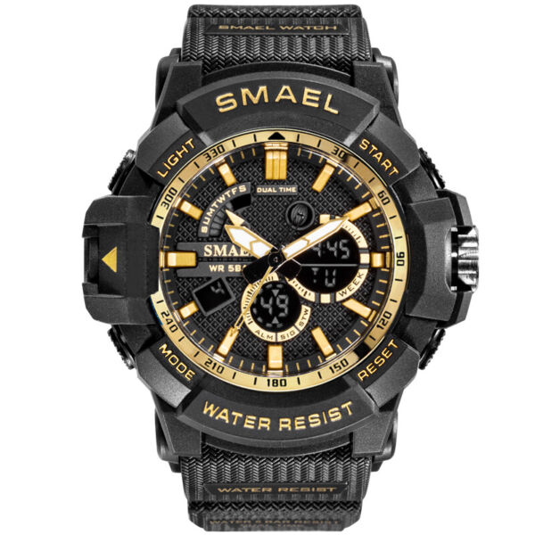 SMAEL Men#x27;s Date Shock Military Waterproof Digital Quartz Sport Analog 50M Watch