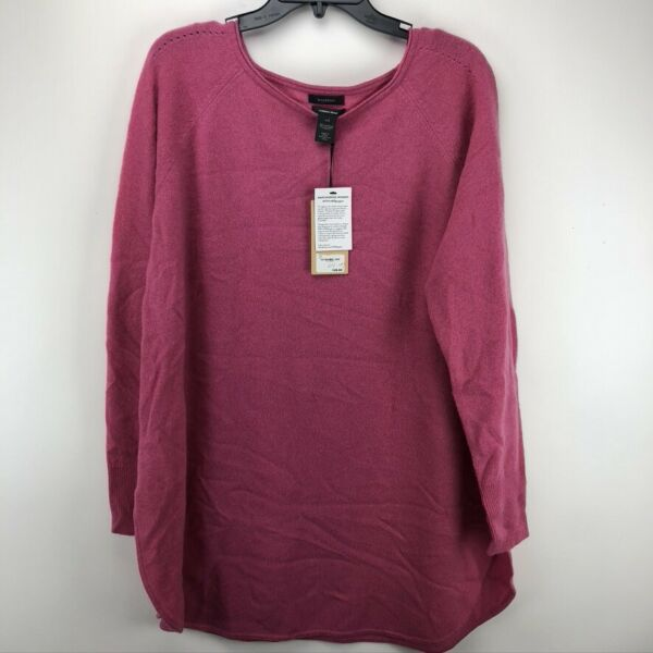 NWT Halogen Boatneck Wool amp; Cashmere Blend Tunic Top Small Solid Pink XXL