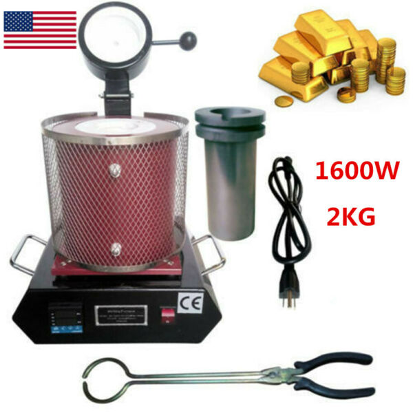 Electric Melting Furnace 2KG 1600W Automatic gold Silver Copper Metal Melter USA $222.30