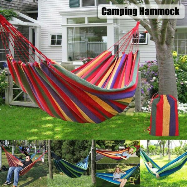 Single Person Rope Hanging Hammock Swing Camping Canvas Bed w Straps $17.66