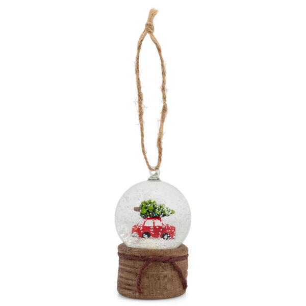 Burlap Brown Red Car Globe 3 x 1.5 Resin Decorative Hanging Tree Ornament