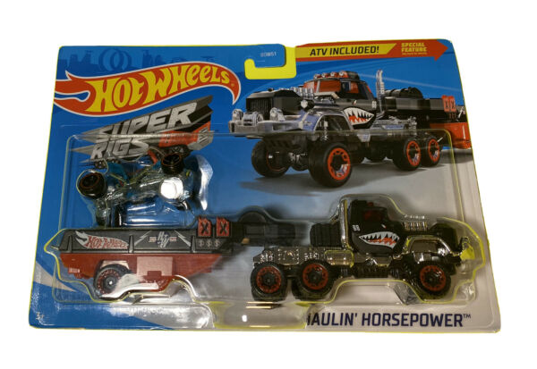 Hot Wheels Super Rigs Haulin Horsepower Truckw Detachable Trailer amp; Bike Toy $13.70