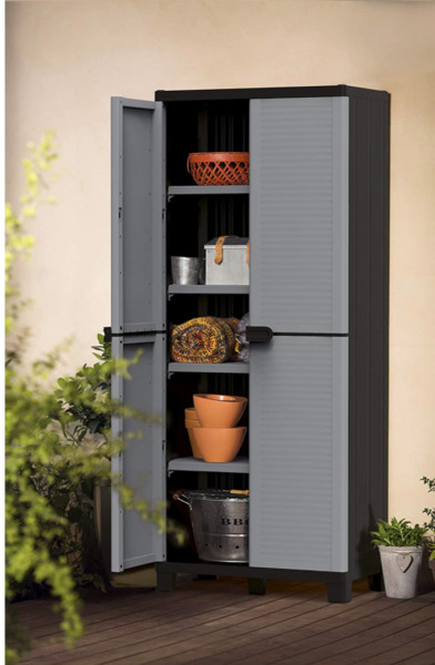 Storage Cabinet Garage 4 Shelf Lockable Plastic Utility Pantry Closet Organizer