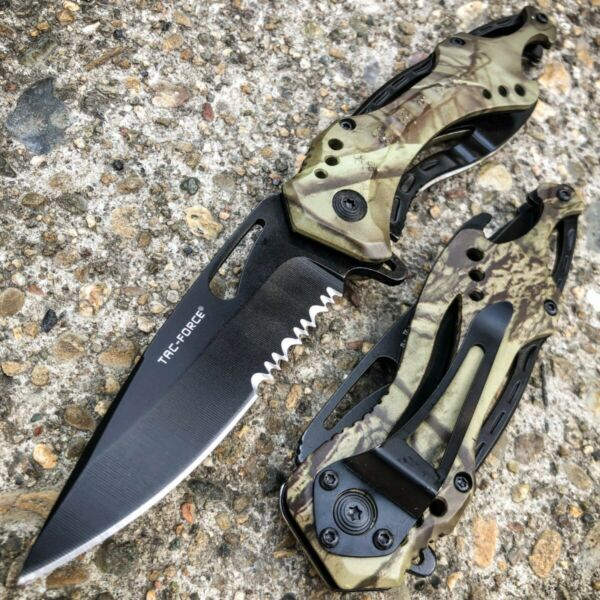 8quot; TAC FORCE MILITARY CAMO SPRING ASSISTED TACTICAL FOLDING KNIFE Blade Pocket