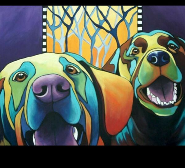 Diamond DIY Dogs Painting Artistic Colorful Design House Wall Decoration Display $33.29