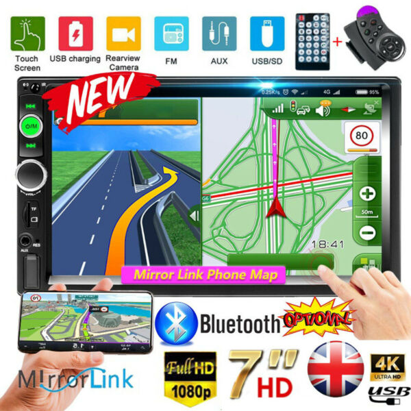 Car Stereo Radio Bluetooth Double 2 Din 7quot; USB FM AUX IN IOS Android Mirror Link $59.99