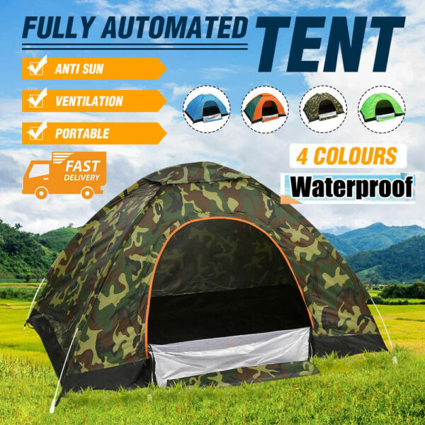 3 4 People Waterproof Automatic Outdoor Instant Pop Up Tent Camping Hiking Tent $27.88