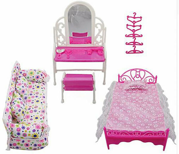 Princess Furniture for Kids 8 lot Dresser Sofa Bed Set Hangers For Barbie Doll $8.98