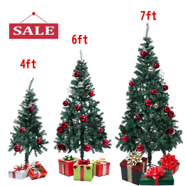 4 6 7 Ft Christmas Tree W Stand Green Artificial Holiday Season Indoor Outdoor