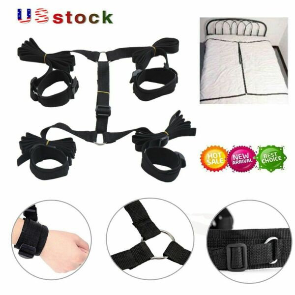 Under Bed Restraint Bondage With Handcuffs Anklet Arm Leg Cuffs BDSM Toy Straps $9.29
