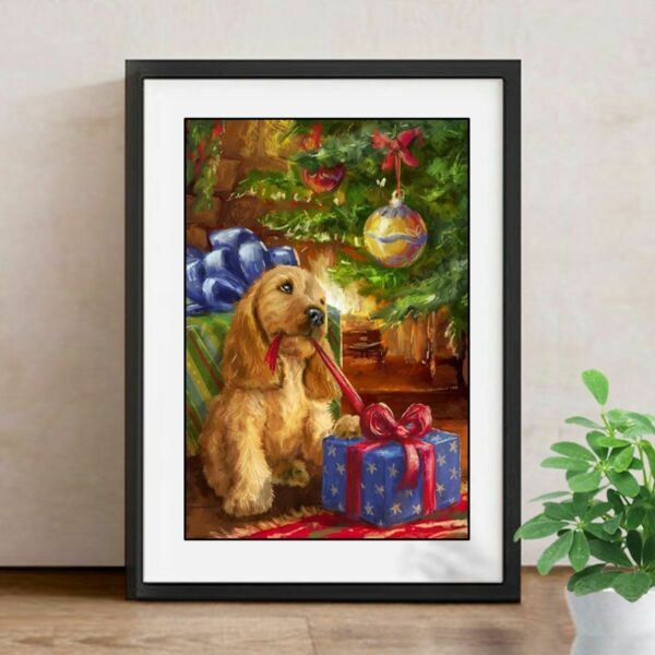 DIY Diamond Painting Dog Opening Christmas Gifts Cute Embroidery Portrait Decors $18.99