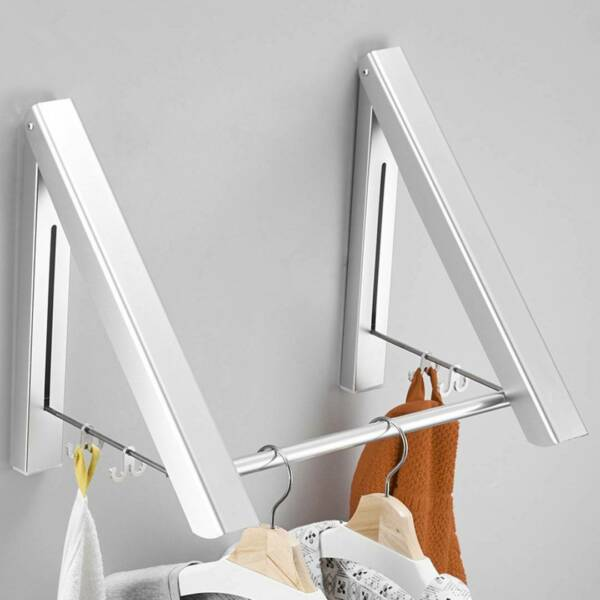 2x Retractable Wall Mounted Clothes Hanger Folding Clothes Drying Rack Aluminum $20.66