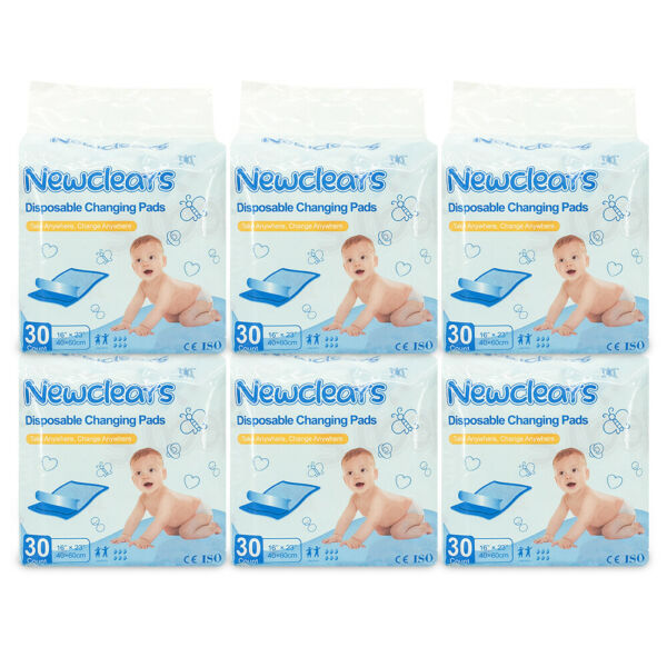 """Newclears Disposable Baby Underpads Diaper Changing Pad 16""""x23"""" 6 Pack 180pcs $40.40"""