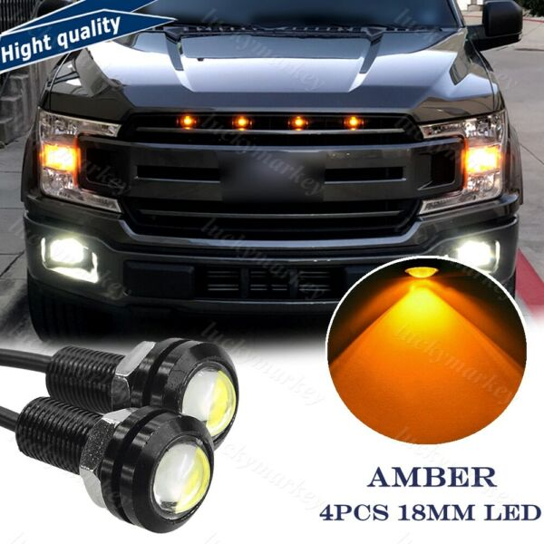 4xLED Amber Grille Mark light For Chevy Colorado Silverado Ford Raptor SVT Style