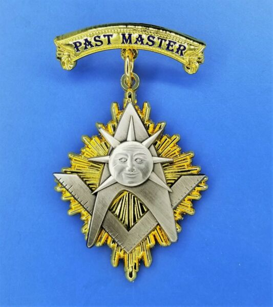 PAST MASTER JEWEL MEDAL MASONIC NGM BRIGHT GOLD amp; ANTIQUE SILVER PMJ BG AS $16.99