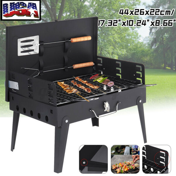 Portable Outdoor Barbecue Charcoal Grill Stove Stainless Steel BBQ Patio Camping