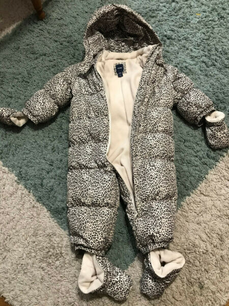 Baby Gap Girls Size 18 24 Months Leopard Down Fill Snowsuit Bunting