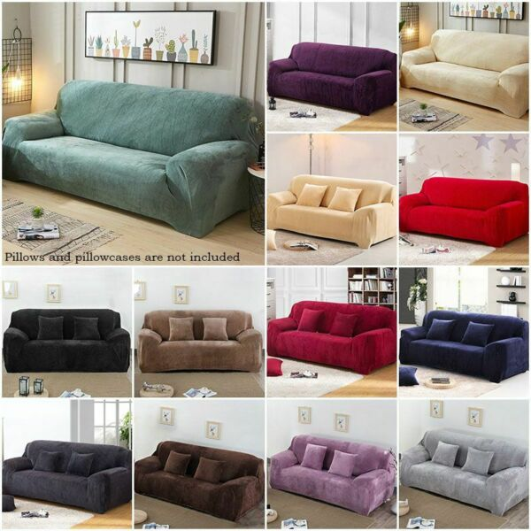 1 4 Seater Sofa Cover Stretch Solid Color Couch Slipcover Loveseat Living Room $22.78