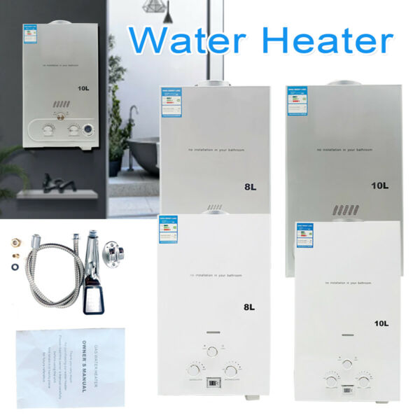 LPG Gas Tankless Water Heater Instant Camping Boiler with Shower Kit $75.17