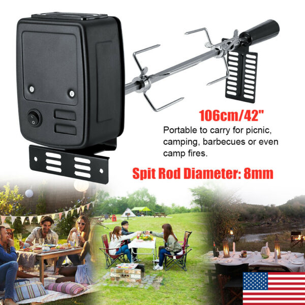 42in Stainless Steel picnic BBQ Rotisserie Grilling Tool Set with Motor Outdoor