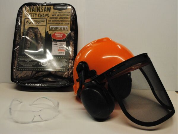 CAMOUFLAGE CAMO camo SAFETY CHAPS HARD HAT EAR MUFFS GLASSES 3 Piece Combo