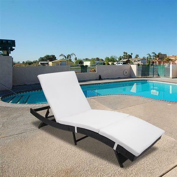 S Style Reclining Patio Chaise Lounge Chair Folding Outdoor Pool Lawn Beach Sun $170.99