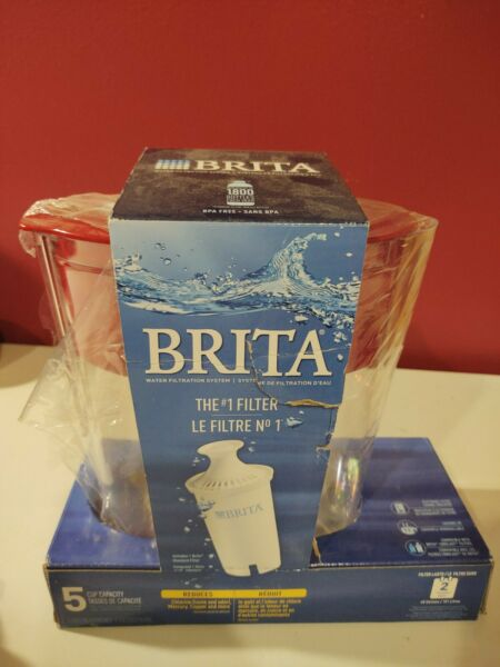 Brita 5 Cup Water Filter Pitcher Red Missing Handle NIB