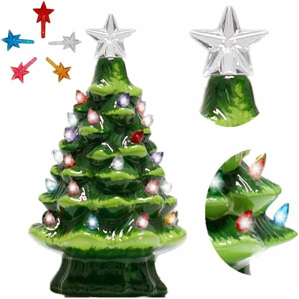 8quot; Pre lit Hand Painted Ceramic Tabletop Christmas Tree Holiday Decoration $18.89