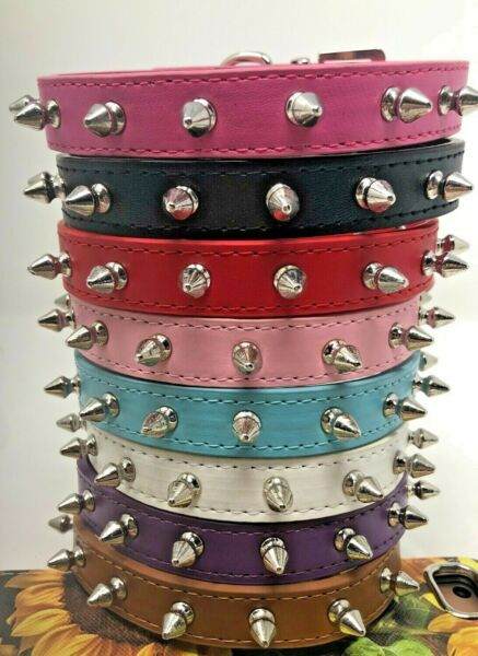 Dog Puppy PU Leather Collar Spikes Studded Rivets 8 Colors XS S M L $9.99