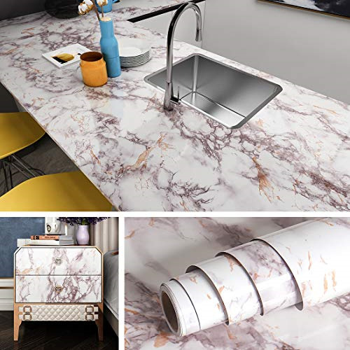 Livelynine Marble Contact Paper Peel and Stick Countertops Waterproof Desk Cover