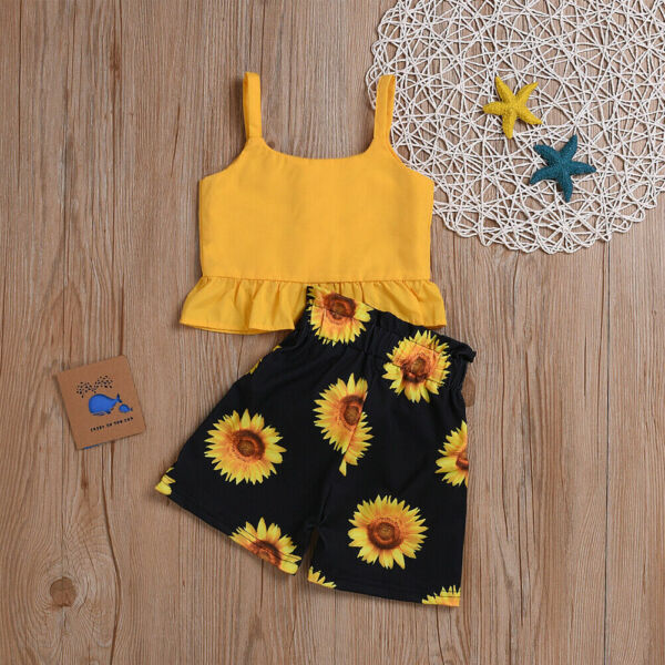 2Pcs Toddler Kid Baby Girl Sweet Summer Outfit Set Sleeveless Tops Floral Shorts