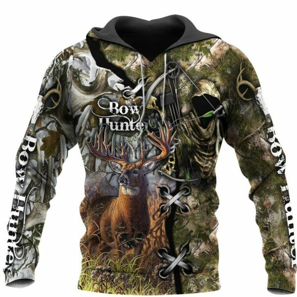 Deer Bow Hunting Camo 3D All Over Printed Shirts Pullover Hoodie S 4XL