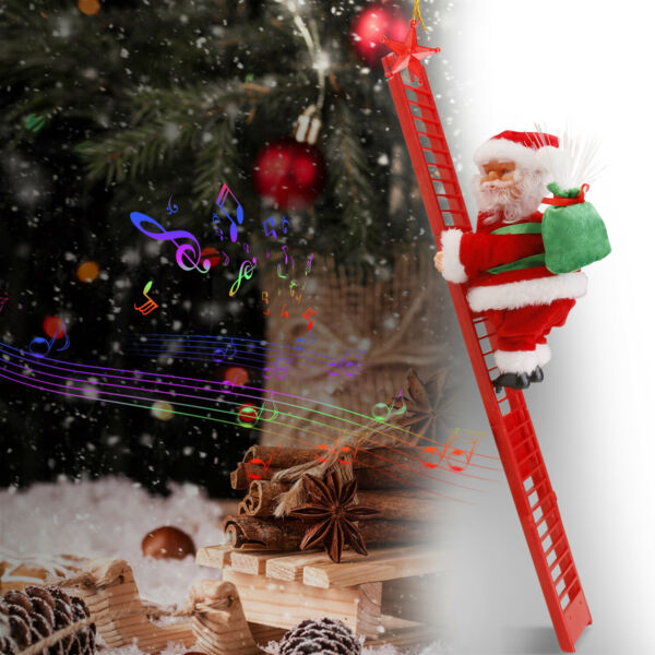 Animated Electric Climbing Ladder Santa Claus Doll Party Musical Christmas Decor $15.99