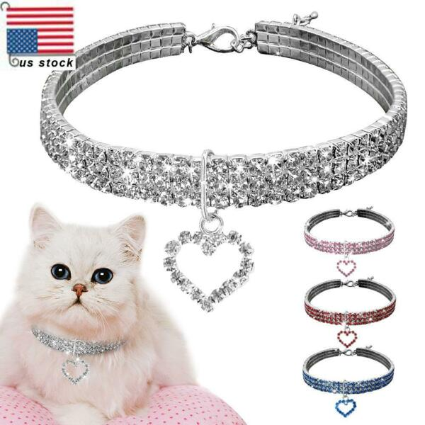 Pets Dog Rhinestone Plated Necklace Cats Kitten Collar Accessories Charm Pendant $7.29