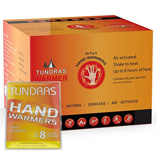 Tundras Hand Warmers 40 Count Safe and Odorless Single Use Air Activated Heat