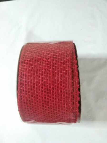 2.5quot; x 10 yards Red Burlap Jute Ribbon Wired Finished Edges NEW
