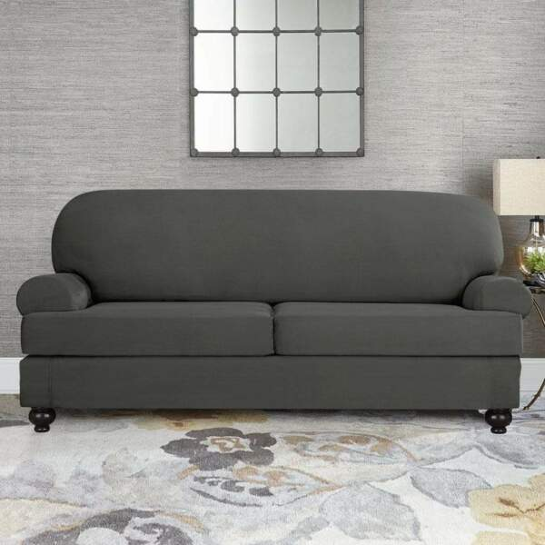 Sure Fit faux stretch Suede Slate gray Sofa Slipcover 2 cushion style t or box $69.95