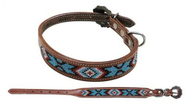 LEATHER DOG COLLAR teal white black red Navajo beaded inlay Small Medium Large $13.99