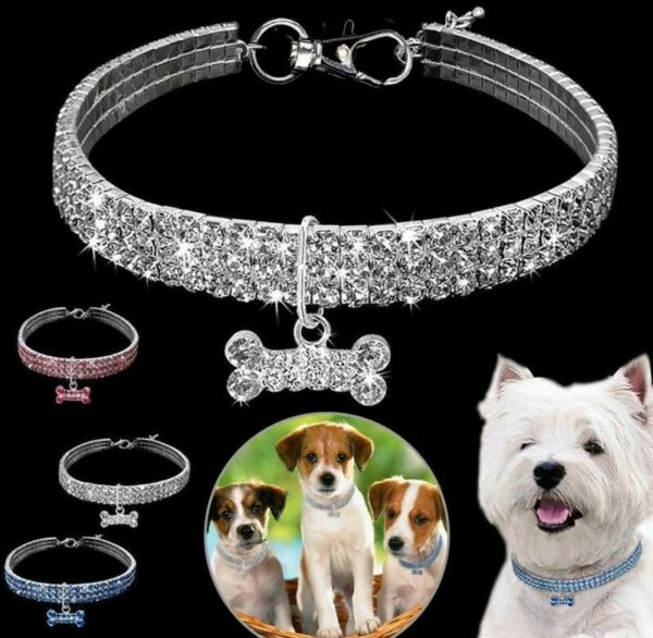 Dog Necklaces Cat Crystal Pendant 3 Rows Of Rhinestone Stretch Line Pet Collars $6.55